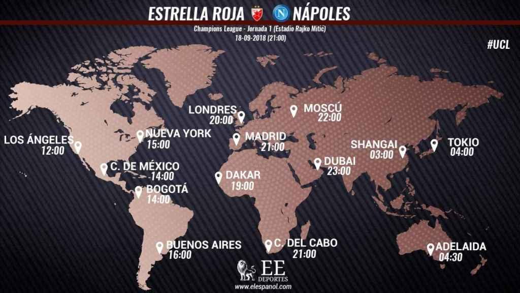 Horario Estrella Roja - Nápoles
