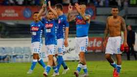 Los jugadores del Nápoles celebran una victoria ante la Fiorentina