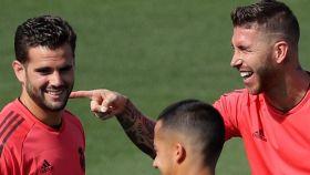 Nacho y Sergio Ramos, en un entrenamiento del Real Madrid