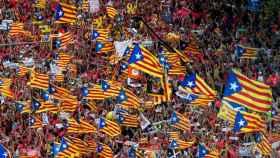 Vista de la manifestación independentista con motivo de la Diada