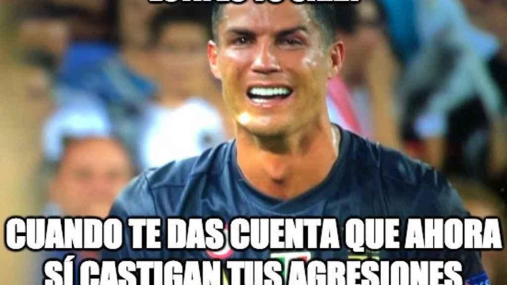 Meme de Cristiano Ronaldo por su expulsión ante el Valencia. Foto: memedeportes.com