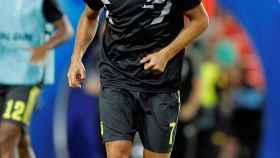 Cristiano Ronaldo, durante un calentamiento