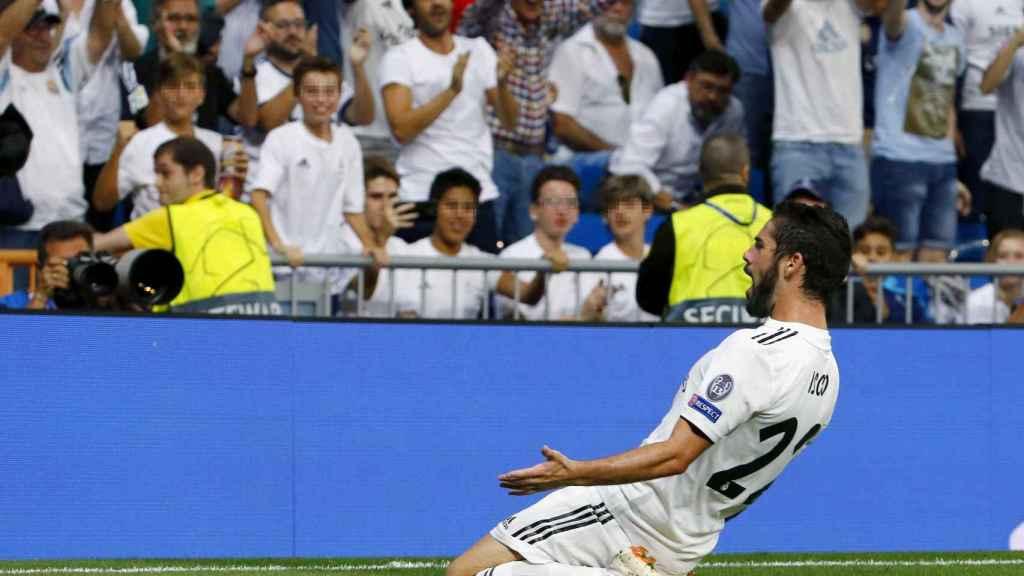 Isco celebra un gol ante la Roma