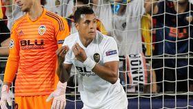 Murillo, en un partido con el Valencia