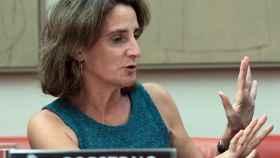 Teresa Ribera, ministra para la Transición Ecológica, durante una comparecencia en el Congreso.