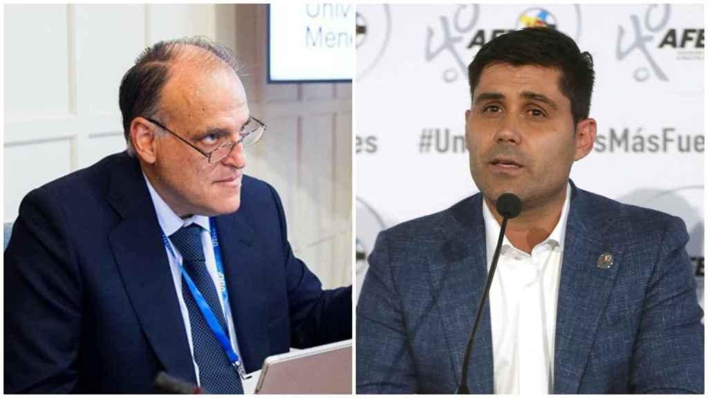 Javier Tebas, presidente de LaLiga, y David Aganzo, presidente de la AFE