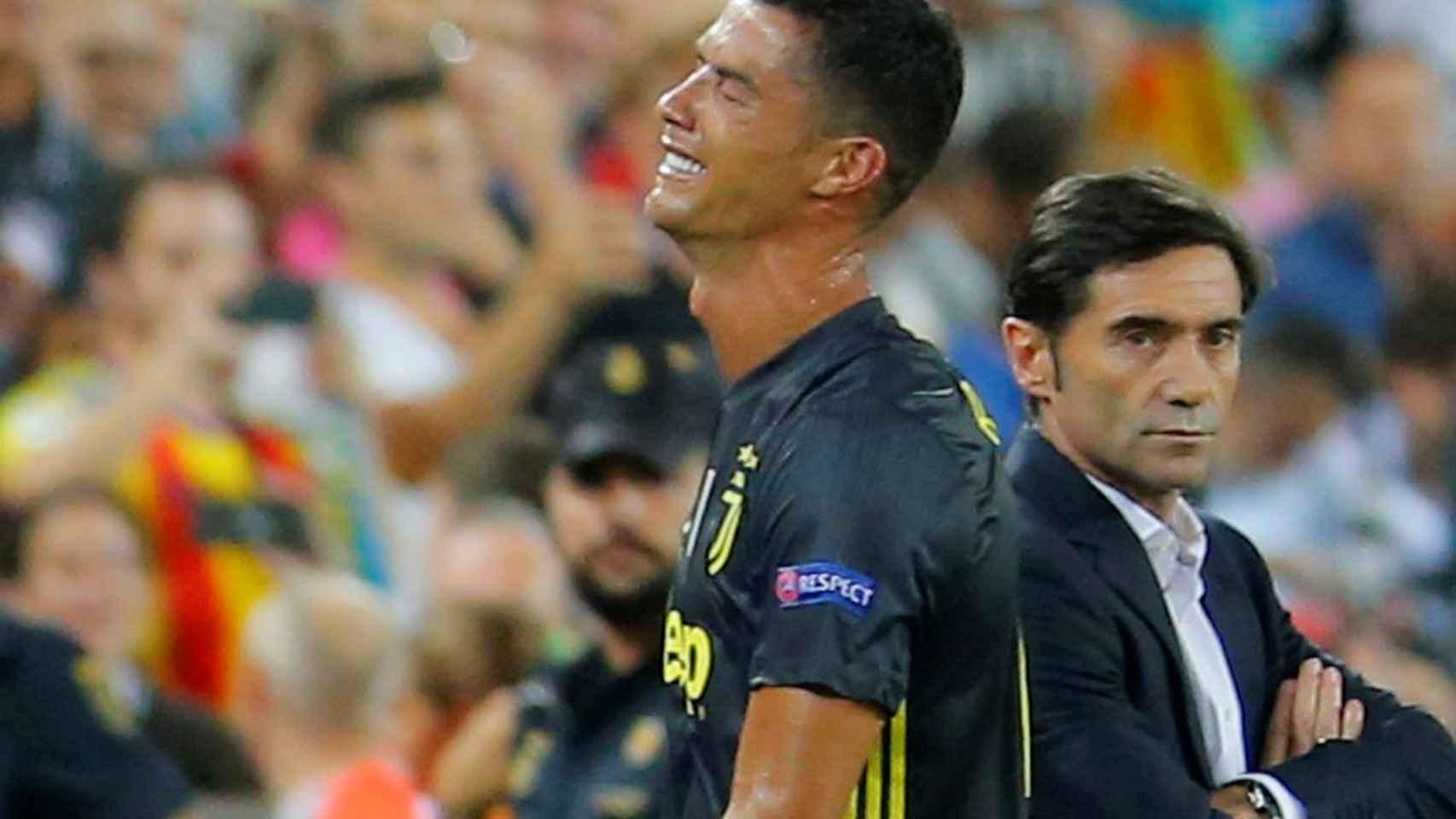 Cristiano se marcha llorando tras ser expulsado contra el Valencia
