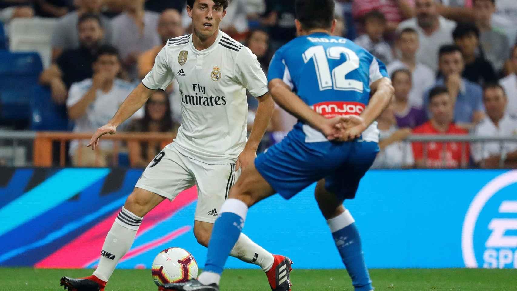 Odriozola, en su debut con el Real Madrid en partido oficial