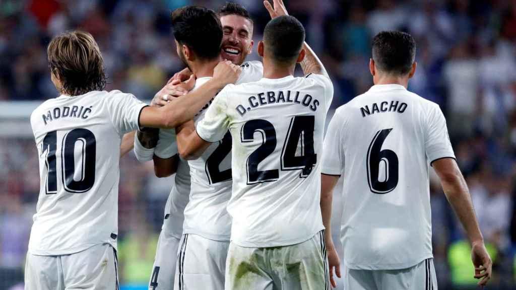 Asensio celebra un gol en el Santiago Bernabéu