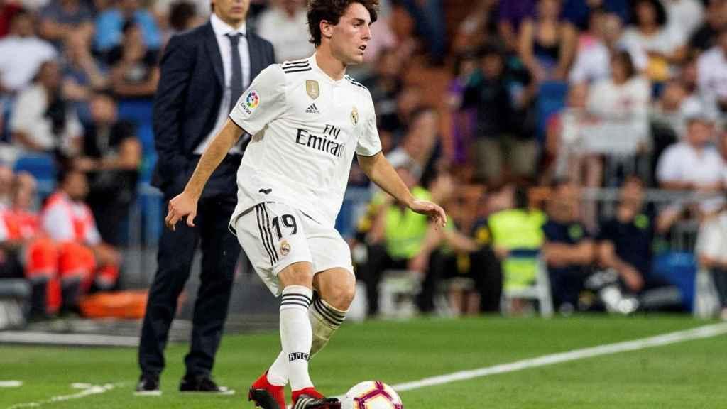 Álvaro Odriozola, frente al Espanyol en su debut oficial con el Real Madrid