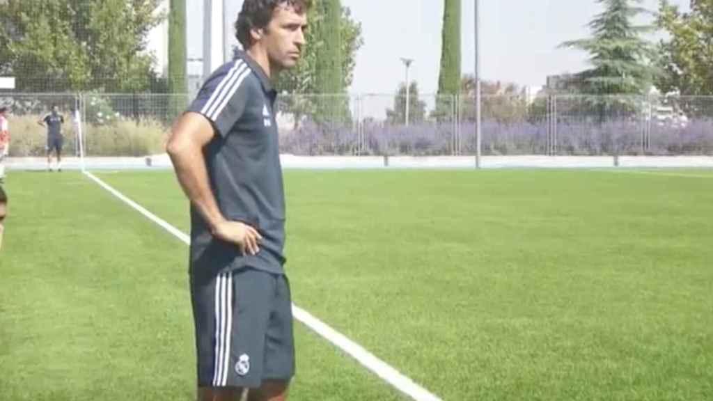 Raúl González, con el Cadete B del Real Madrid