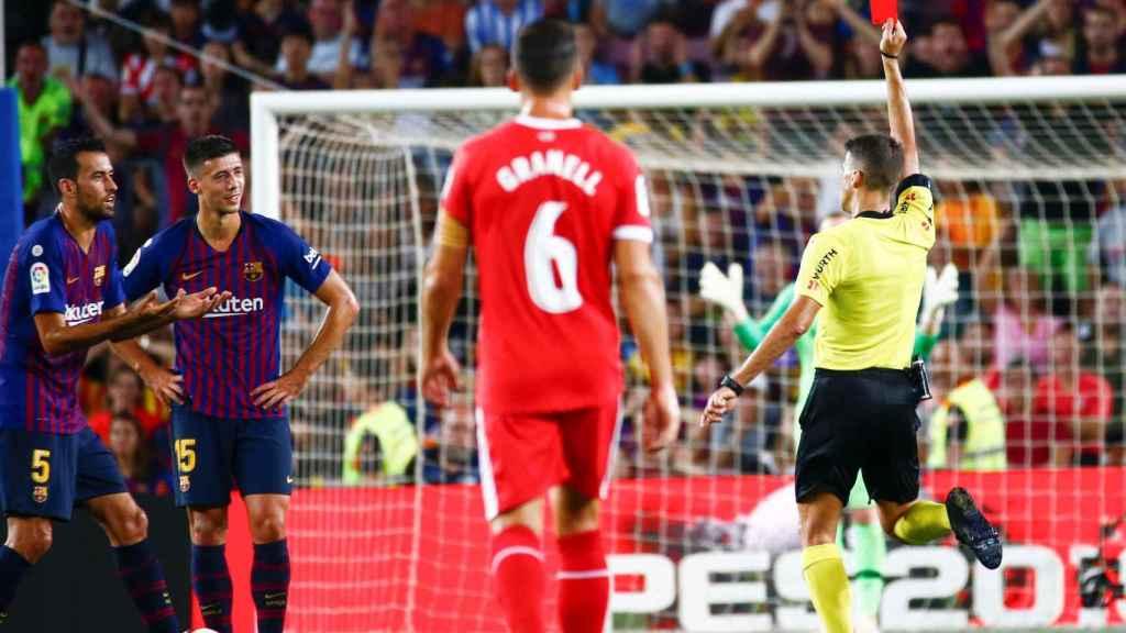Gil Manzano expulsa a Lenglet contra el Girona