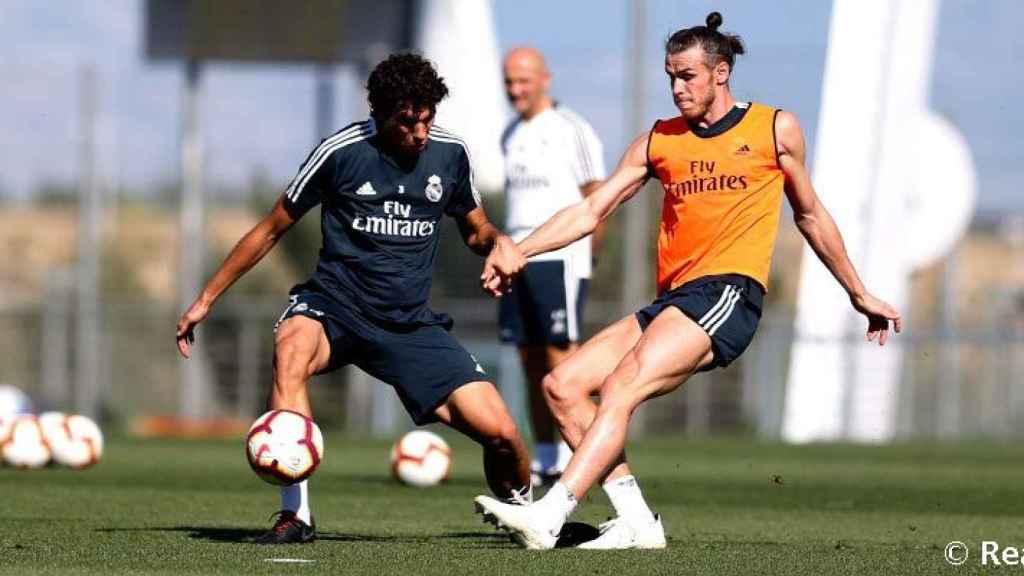 Bale y Vallejo durante un entrenamiento