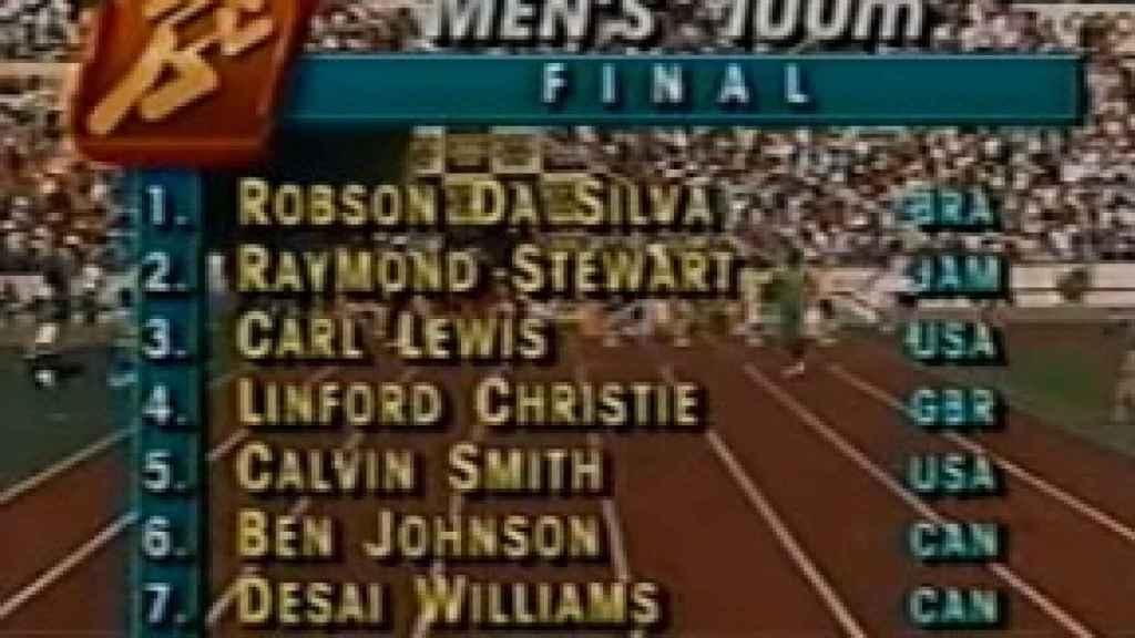 Participantes en la final de los 100 metros lisos en los Juegos Olímpicos de Seúl 1988