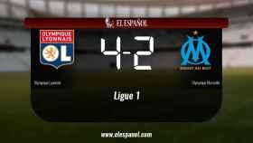 Triunfo del Olympique Lyonnais por 4-2 ante el Olympique Marseille