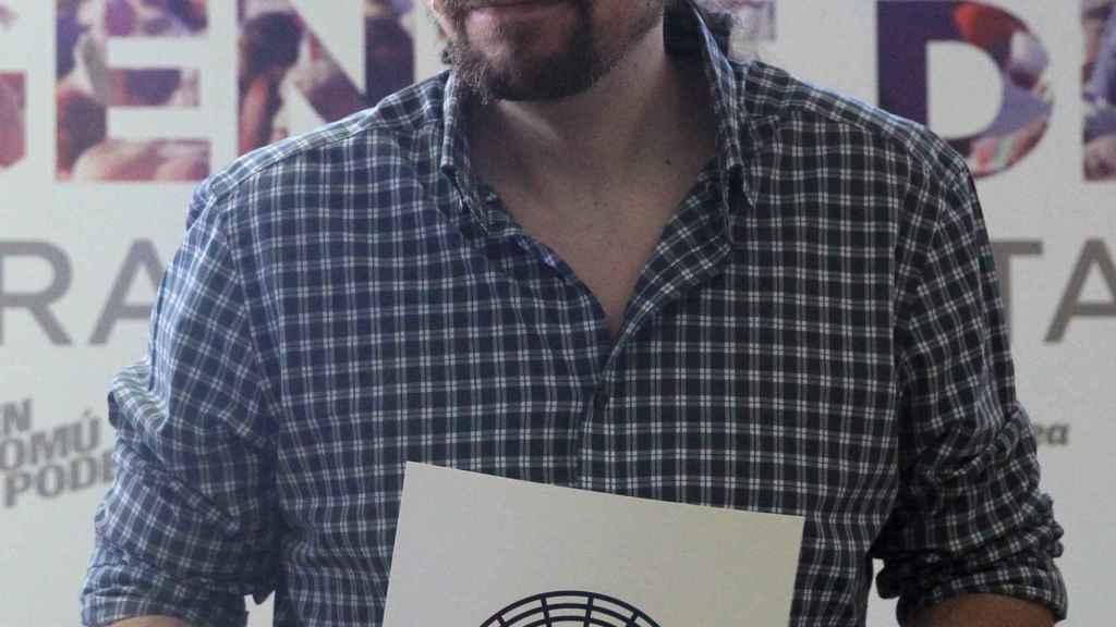 El líder de Podemos, Pablo Iglesias, durante la presentación del documento.º