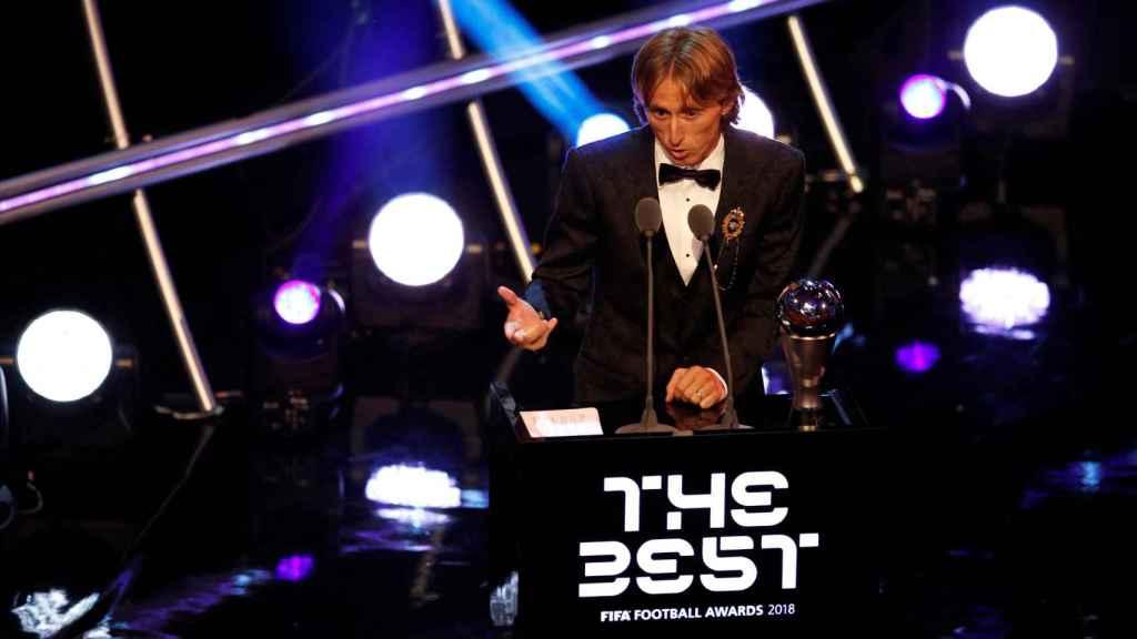 Luka Modric da su discurso durante la gala de los Premios The Best
