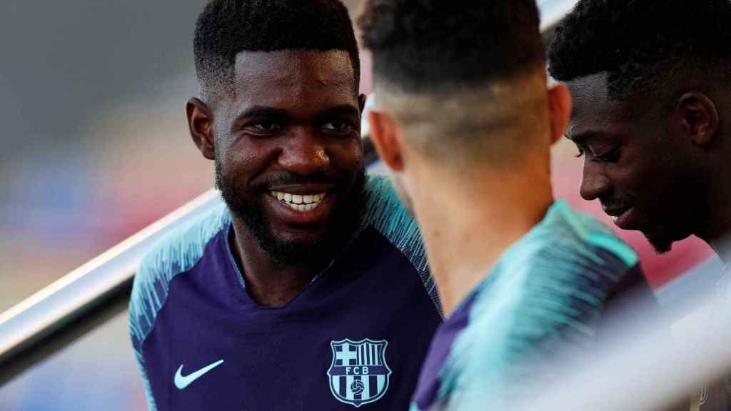 Umtiti en un entrenamiento del Barcelona