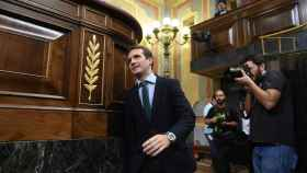 El presidente del PP, Pablo Casado, este miércoles en el Congreso.