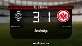 El Borussia Monchengladbach derrotó al Eintracht Frankfurt por 3-1