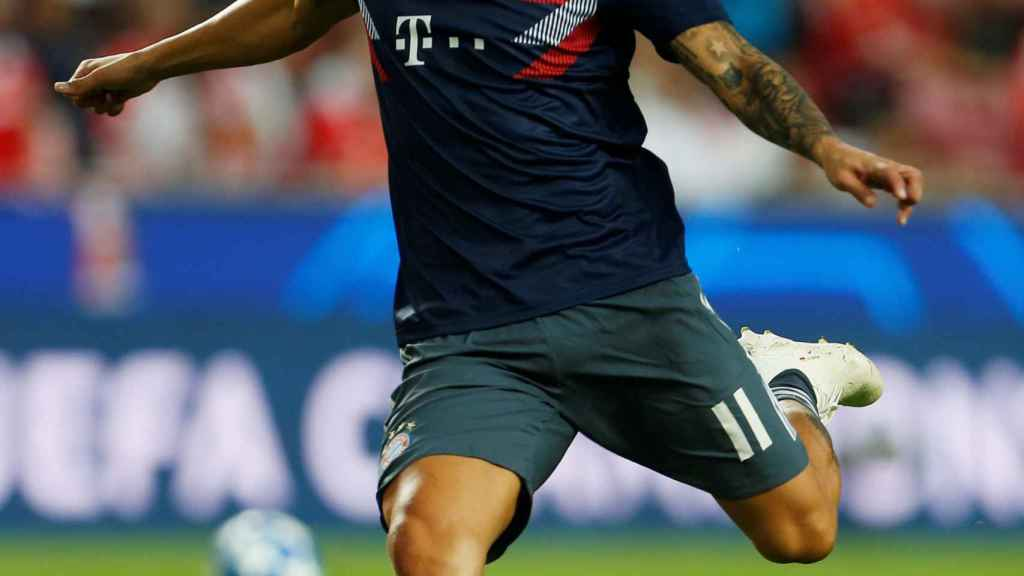 James Rodríguez, en un calentamiento con el Bayern Múnich