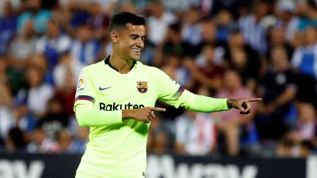Coutinho, jugador del Barcelona, celebra su gol ante el Leganés
