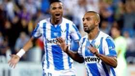 El Zhar celebra su gol ante el Barcelona