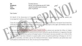 Extracto de la carta remitida por Raül Romeva.