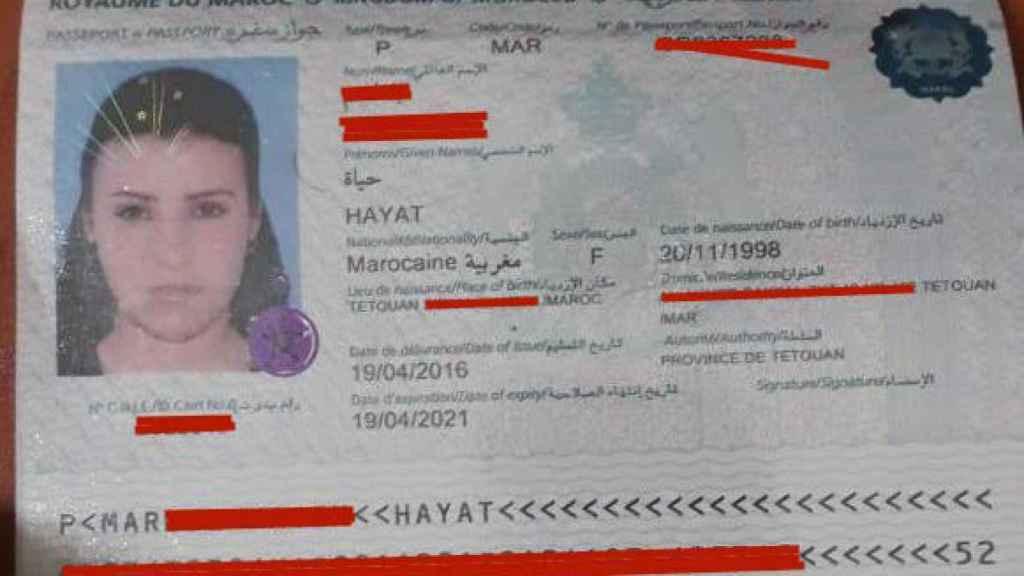 Pasaporte de la joven fallecida a tiros por la Marina marroquí.