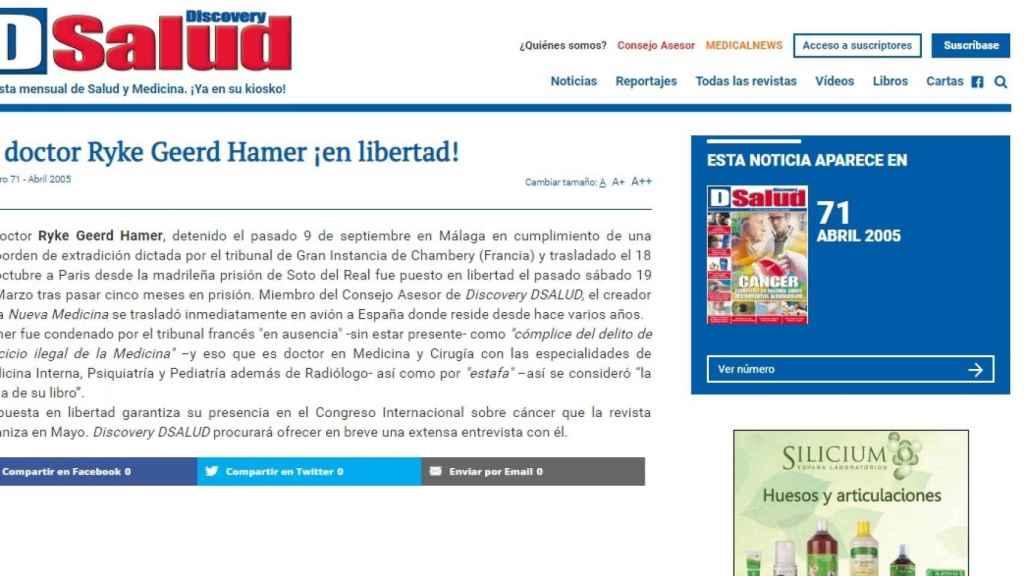 La revista, celebrando en una noticia la puesta en libertad de un hombre condenado en varios países y expulsado del mundo de la medicina. Se trata de Hamer.