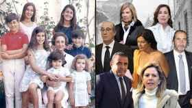 En la primera imagen, de izquierda a derecha y de arriba a abajo: Mariola, Carmen, Francis, Merry, su abuela Carmen Polo, Cristóbal, Jaime y Arantxa hace medio siglo. A la derecha, los nietos, en el mismo orden, ahora.