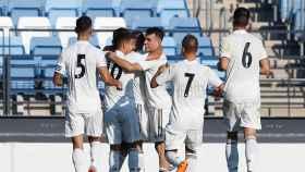 El Castilla celebrando un gol