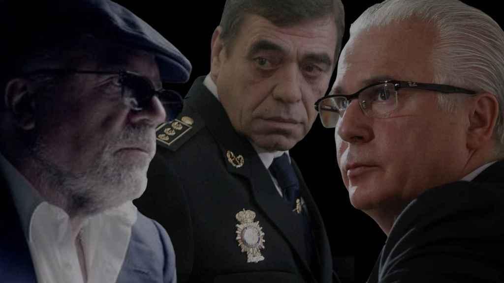 José Villarejo, Juan Antonio González y Baltasar Garzón./