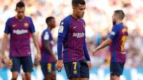 Los jugadores del Barcelona, en el partido contra el Athletic