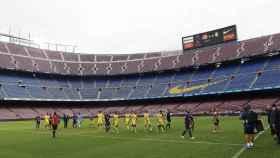 Partido entre el Barcelona y Las Palmas a puerta vacía