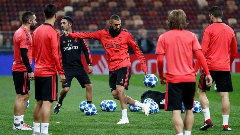 Benzema, en un entrenamiento del Real Madrid