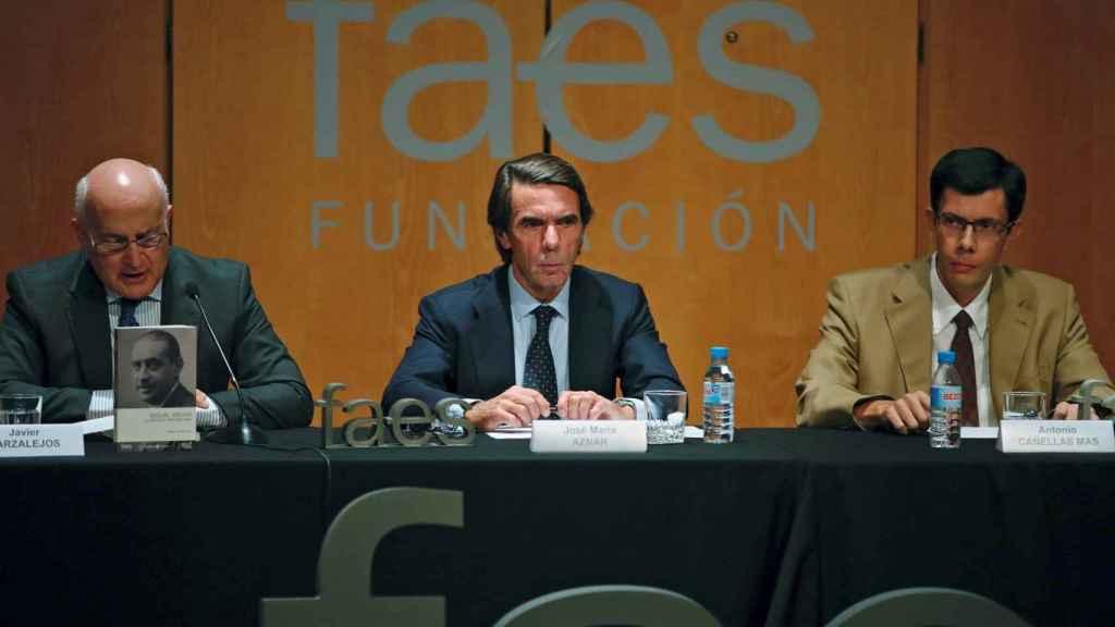 José María Aznar durante la presentación del libro sobre Maura.