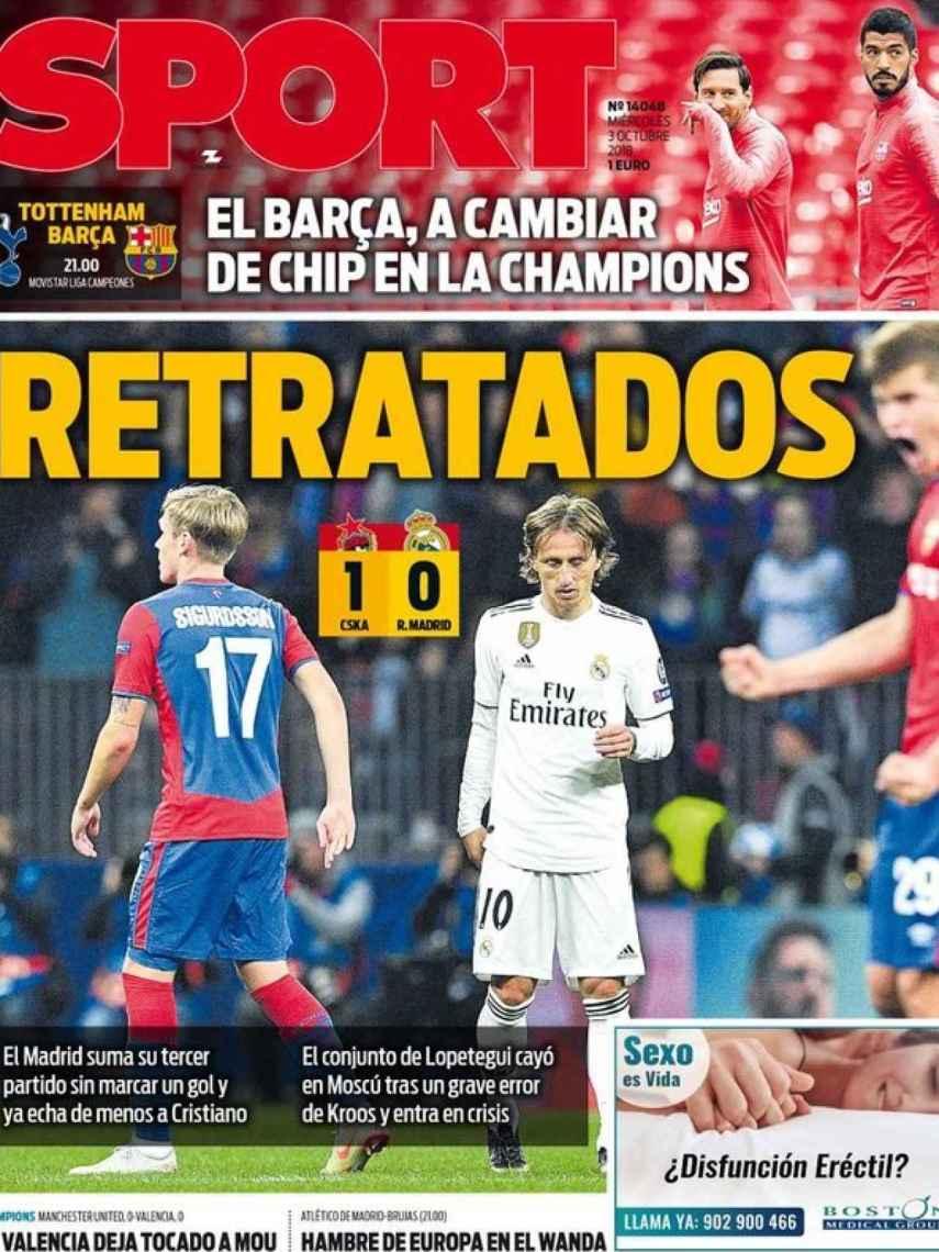 La portada del diario Sport (03/10/2018)