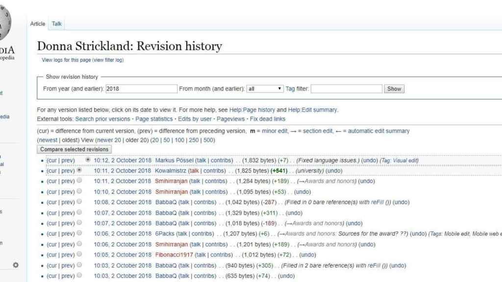 Registro de cambios en la página de Wikipedia de Donna Strickland