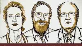 Los estadounidenses Frances H. Arnold y George Smith y el británico Gregory P. Winter, premio Nobel de Química 2018.