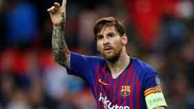 Messi celebra uno de sus goles ante el Tottenham