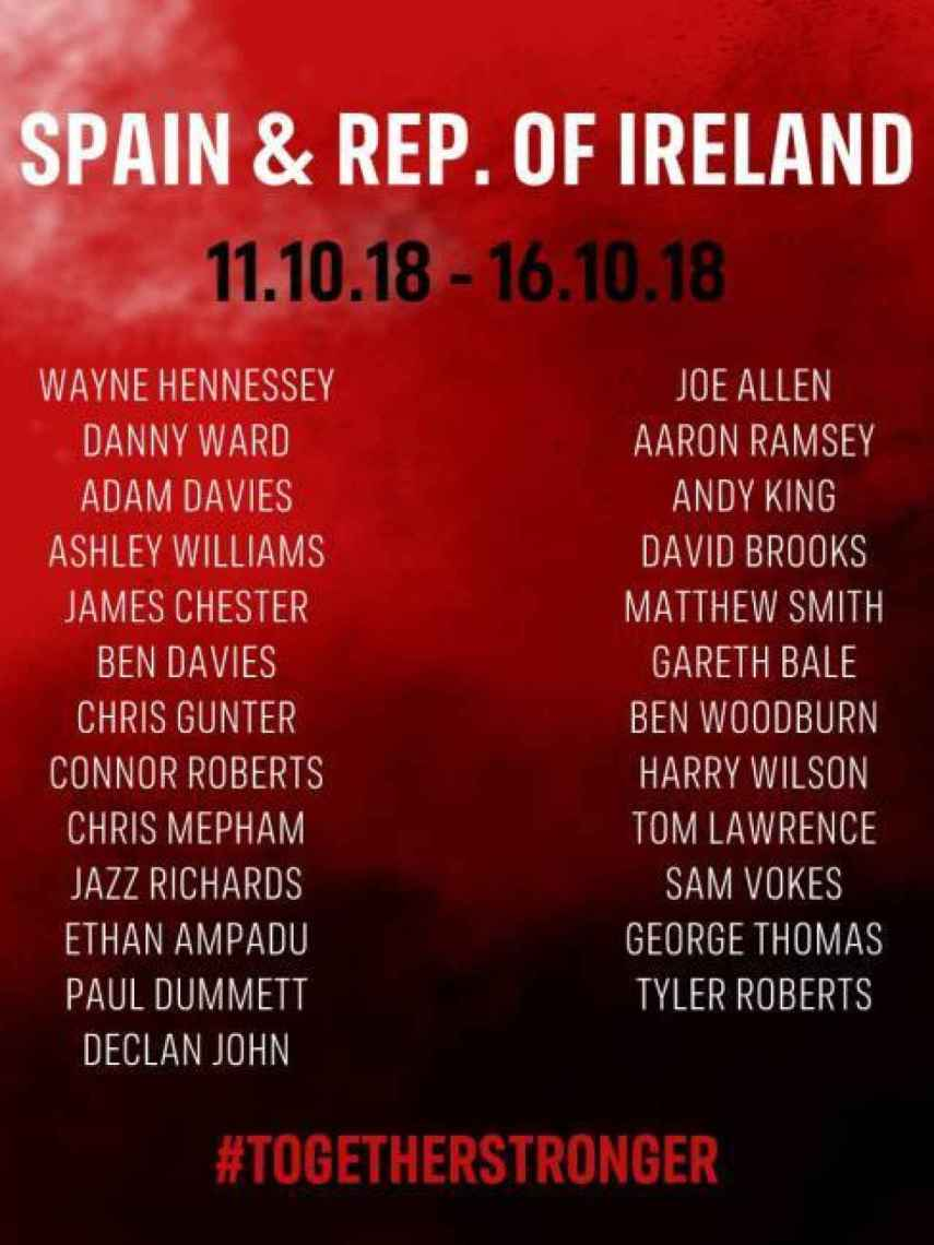 Lista de Gales contra España y República de Irlanda