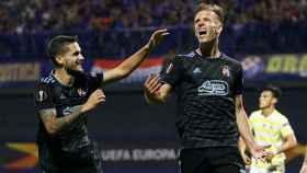 Dani Olmo celebra un gol con el Dinamo Zagreb