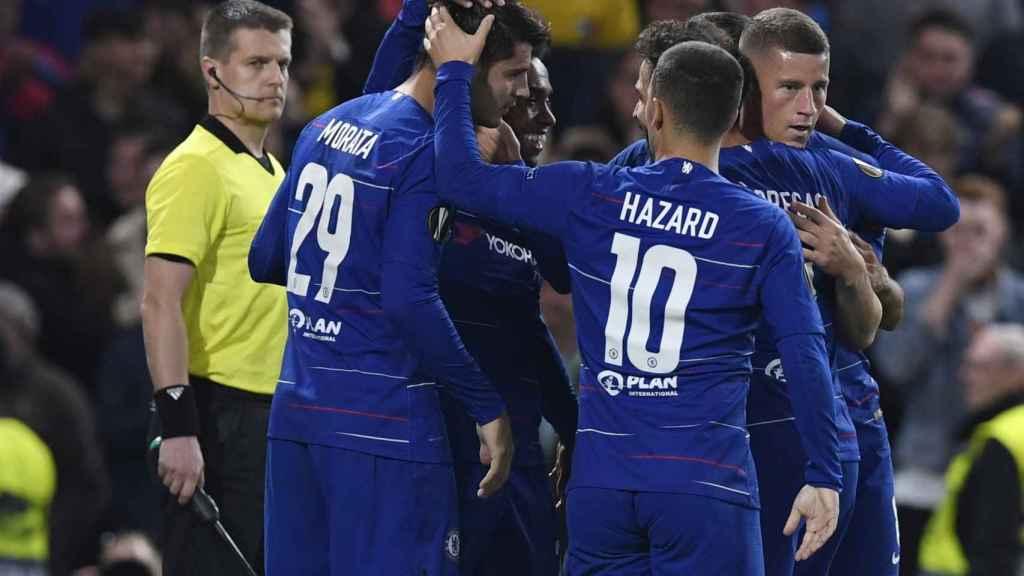 Álvaro Morata celebrando su gol ante el Videoton