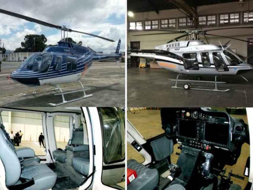 Los helicópteros del presidente y la vicepresidenta, que finalmente les requisó la Justicia de Guatemala.