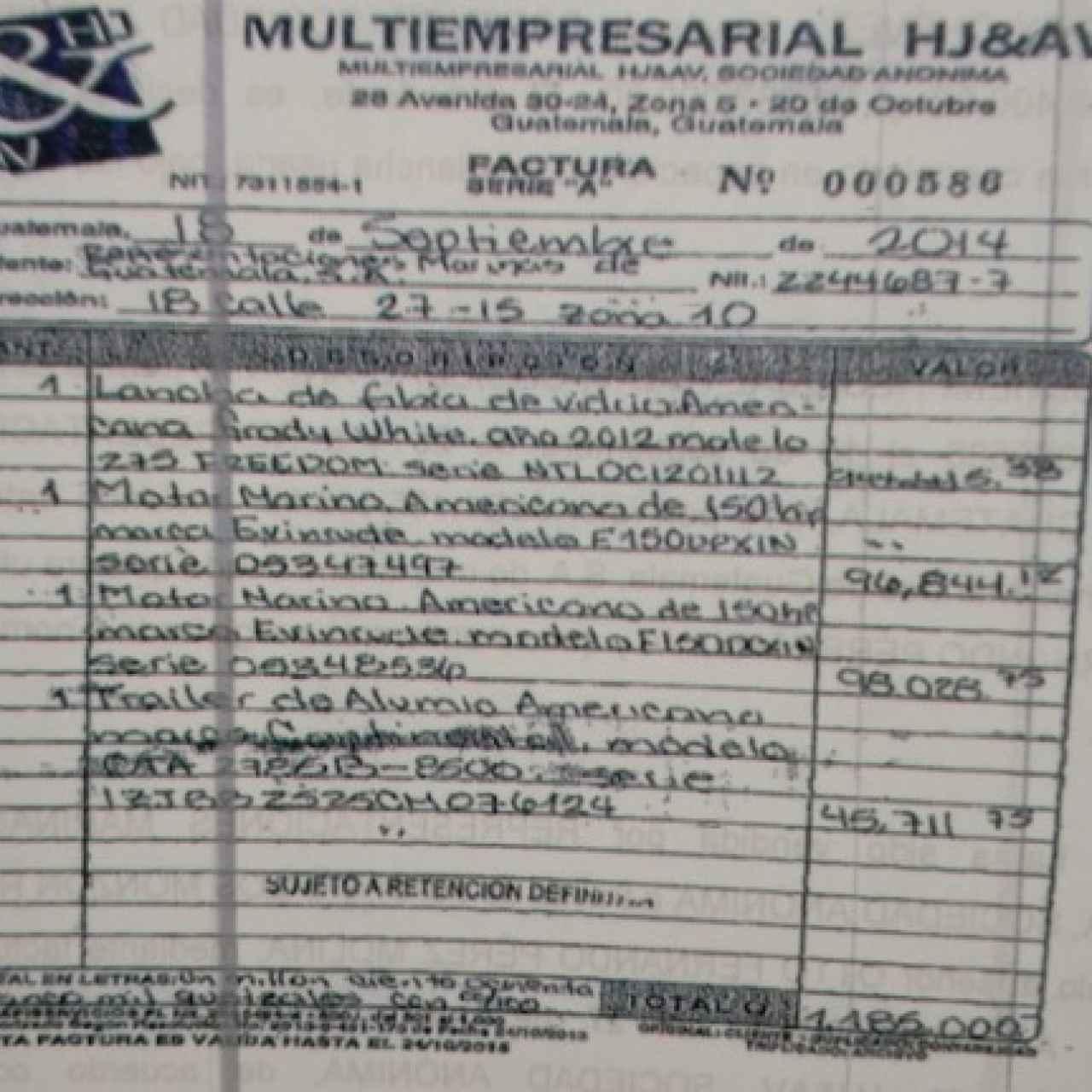 Factura de la barca comprada para el presidente de Guatemala.
