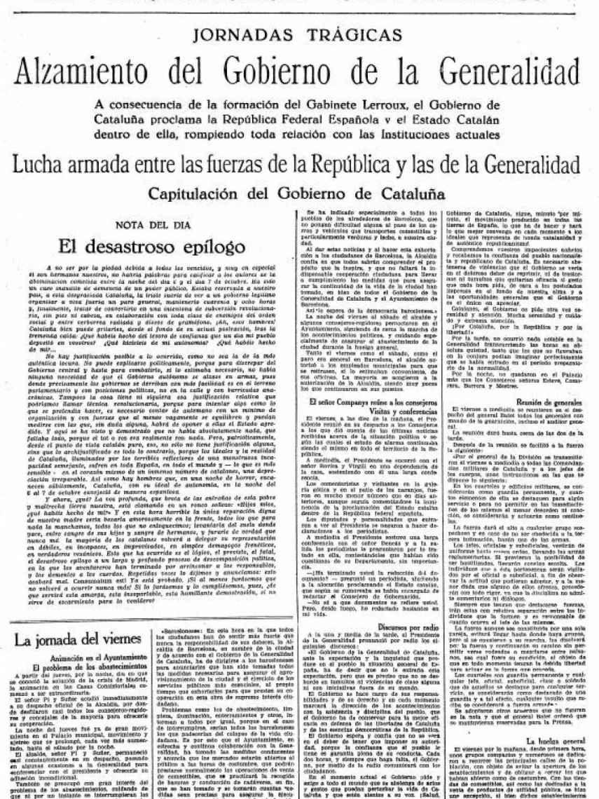 Portada de La Vanguardia del 9-O. Los sucesos del 'Sis d'Ocutbre' cerraron 3 días el periódico.