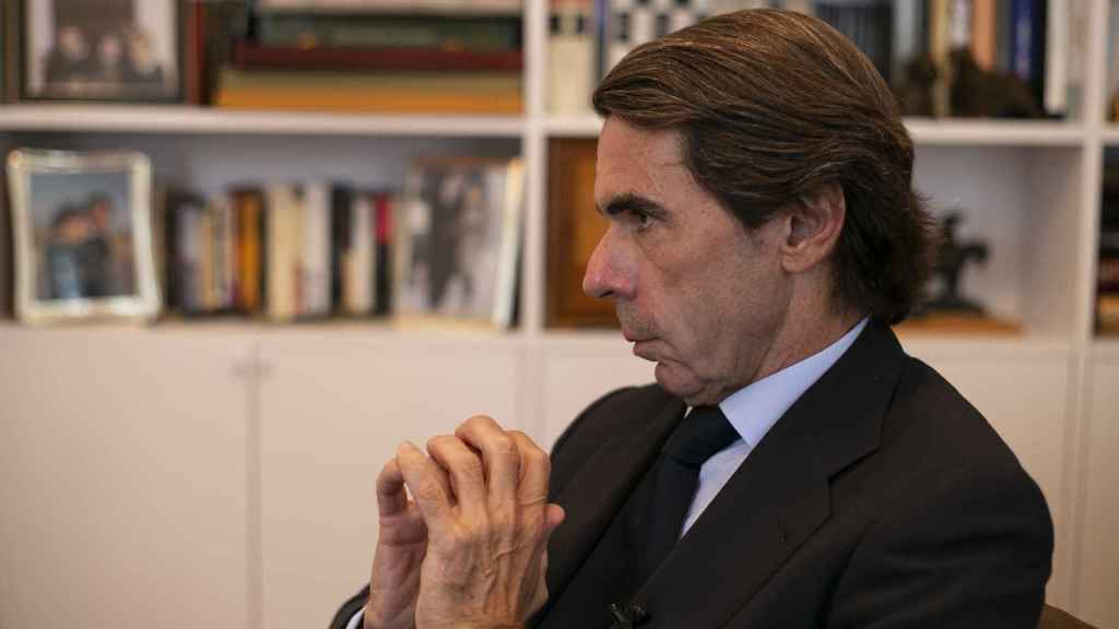Aznar en su despacho de la Fundación Faes durante la entrevista.