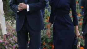 Los reyes a su llegada al Grand Palais.