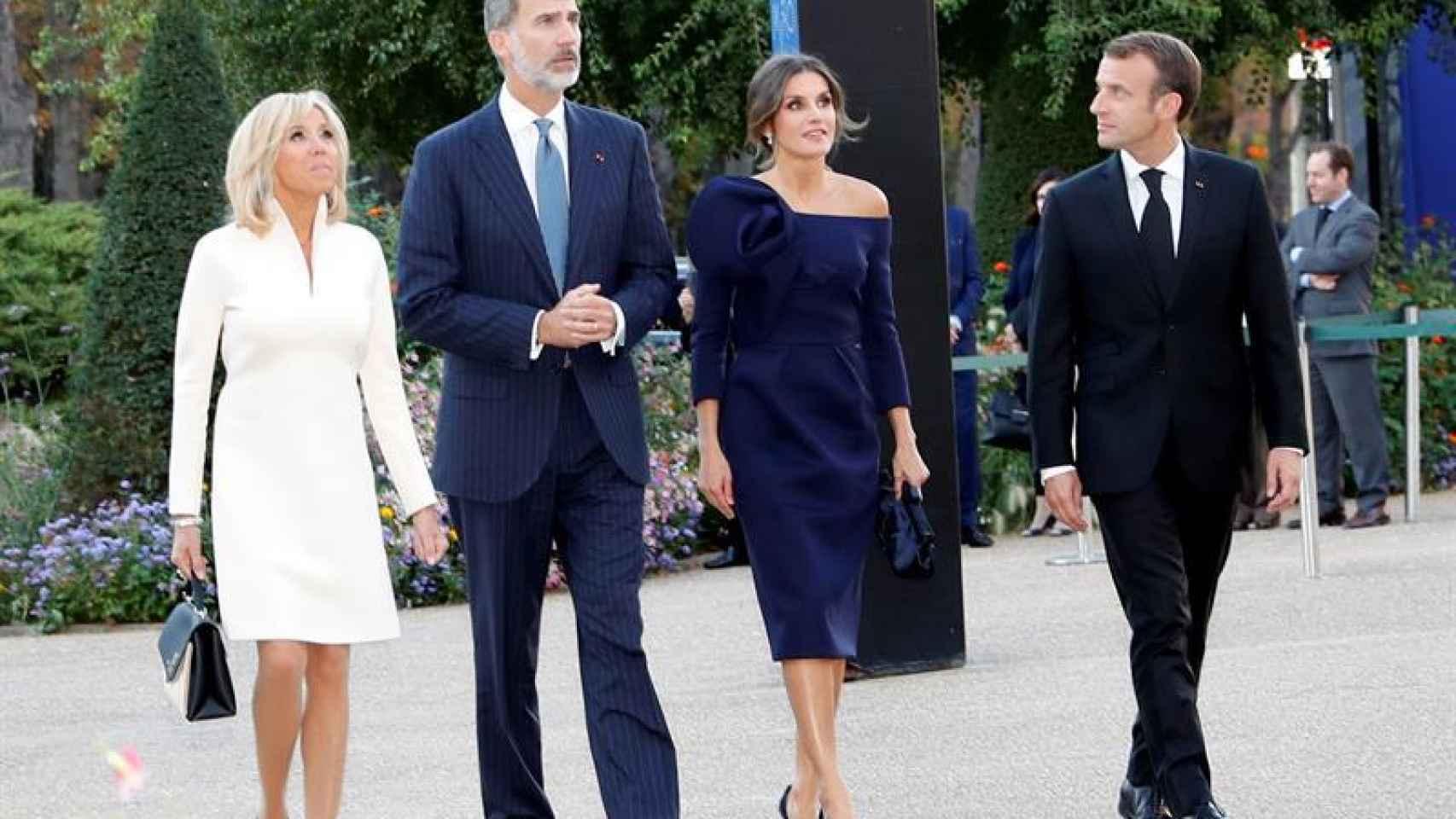 Los reyes de España durante su visita al presidente francés, Emmanuel Macron y su esposa, Brigitte